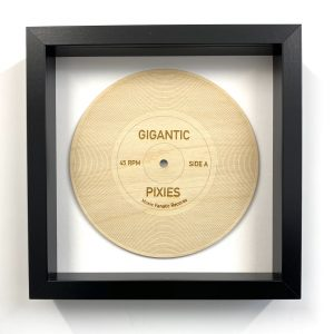 Gigantic wood record in black frame
