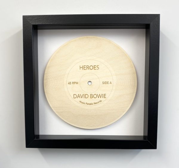 Heroes wood record in black frame