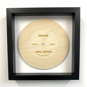 wood record Imagine black frame