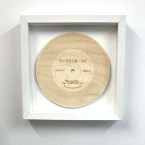 Whire frame You Got The Love wooden record