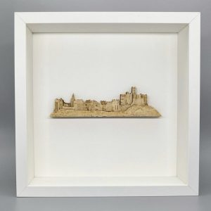 Warkworth castle in wood white frame