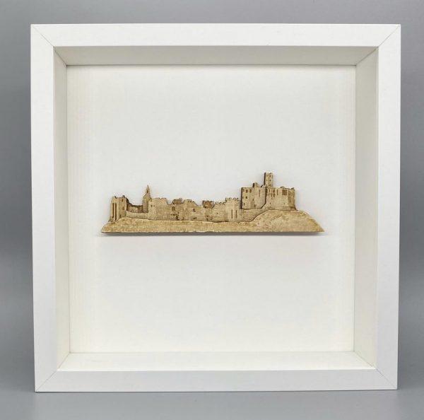 Warkworth castle in wood white frame
