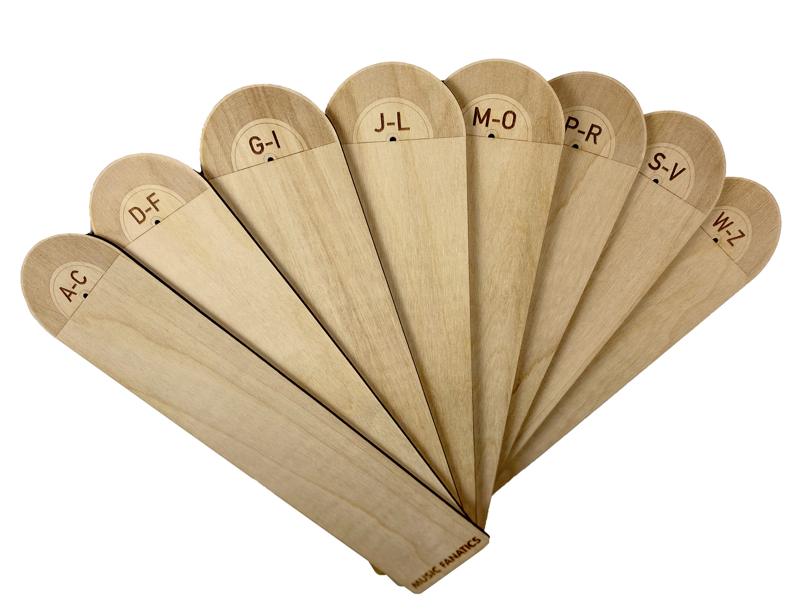 Record Dividers set of 8 in fan display